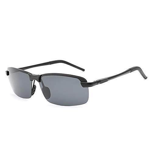 Männer klassische quadratische Rahmen-Art- und Weisefrosch-Spiegel-Sonnenbrille UVschutz polarisierte Aluminiumlegierungs-Sonnenbrille für Sonnenbrillen und flacher Spiegel ( Color : Schwarz )