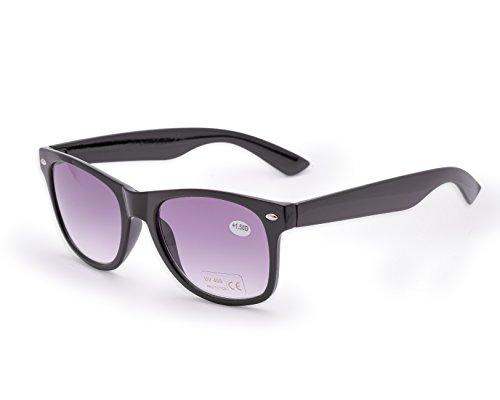 Damen Herren Lesebrille Sonnenbrille +1.5 +2.0 +3.0 +4.0 Sun Readers Perfekt für den Urlaub Retro Vintage Brille MFAZ Morefaz Ltd (+1.5, Black)