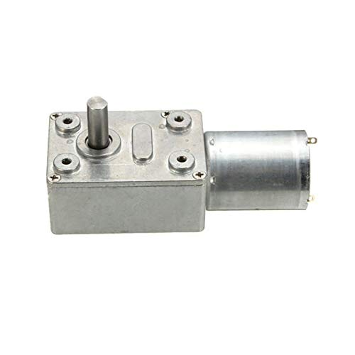 Wenwenzui-ES Gw370 Dc 12v 30rpm Reversible High Torque Turbo Worm Gear Motor Dc Reducer Silver (Gear Reducer Worm)