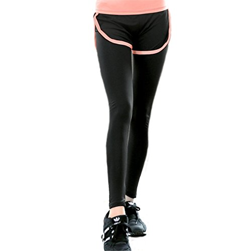 Donne Forma fisica Nero e Grigio Cucitura Pantaloni Yoga Gli sport Casuale In esecuzione Palestra Nero e Arancia