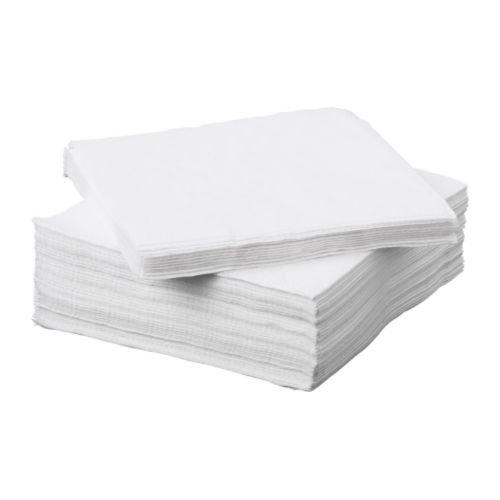 IKEA FANTASTISK Papierservietten, Weiß, 50 Stück - 24 x 24 cm, Einzelpackung