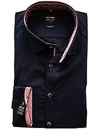 Olymp Level 5 Slim Fit Hemd, Größe 40, braun gestreift