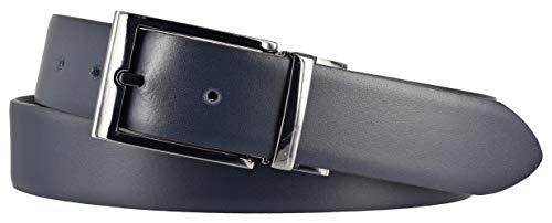 LLoyd Herren Leder Gürtel Wendegürtel bombiert schwarz - blau kürzbar 35mm Ledergürtel (110 cm)