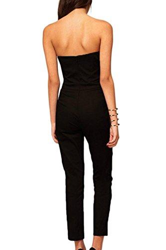 Femmes hors de l'épaule V Neck Jumpsuits Black