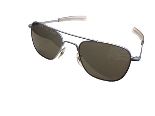 American Optical Flight Gear Original Pilot Sunglasses, 52mm lens, Matte Chrome Frame, True Color 30060