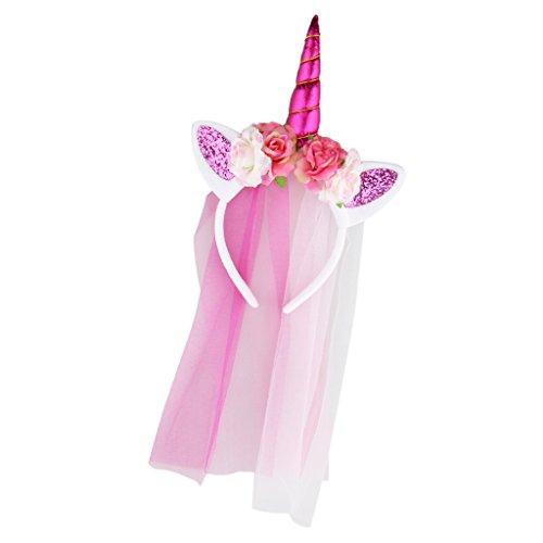 Prettyia Niedlich Party Kostüm Einhorn Horn Haarreif Stirnband Haarband mit Schleier Haar Accessoire Zubehör Geschenke Mehr Farben zum Auswahlen - Rose Rot