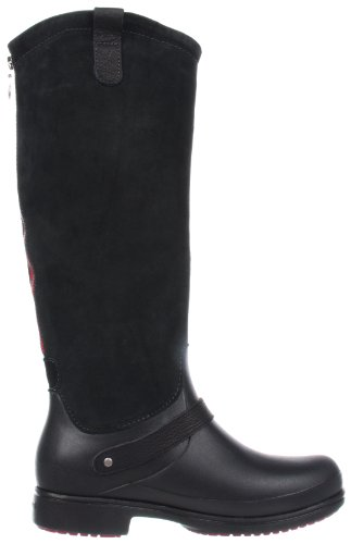 Crocs Equestrian Suede Tall Boot, Damen Stiefel Schwarz (Noir (Black/Black))
