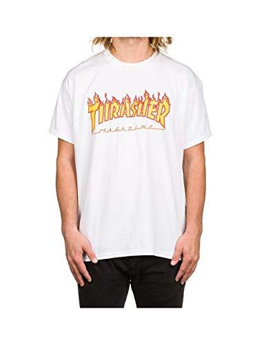T-shirt thrasher: flame logo wh m