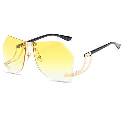 YOURSN Randlose Sonnenbrille Frauen Vintage Designer Metall Sonnenbrille Für Männer Clear Ocean Lens Uv400 Sonnenbrille Big Frame Brillen-Yellow