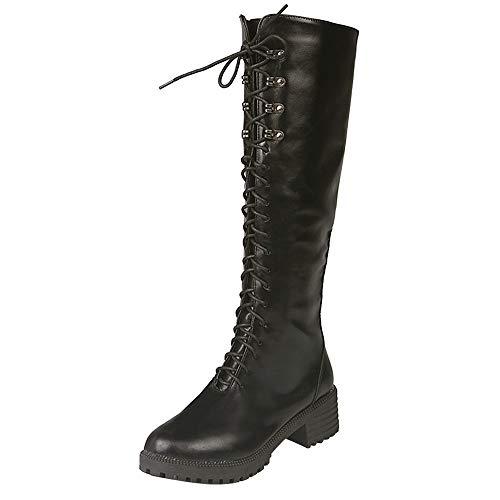 Darringls Zapatos de Invierno Mujer,Zapatillas Punta Redonda Botas de mar Botas de Cuero con Cordones Altas de Tubo