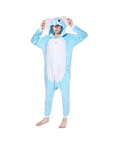 (Unisex Onesie Kostüme Pyjamas, Erwachsene Frauen Männer Tier Cosplay Nachtwäsche Kostüm WeihnachtenGemütlich Geschenk Idee Homewear, Flanell, Elefant, L)