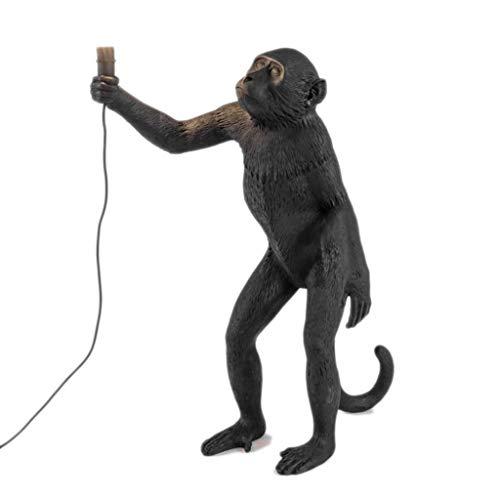 Moderne Harz-Kunst-Affe-Stehlampe-Loft-Art-Affe-kreative stehende Lampe für Schlafzimmer der Kinder (Color : Black) -
