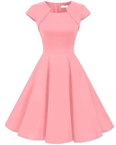 HomRain Damen 50er Vintage Retro Kleid Party Kurzarm Rockabilly Cocktail Abendkleider Blush M (Für Kleider Frauen Rosa)