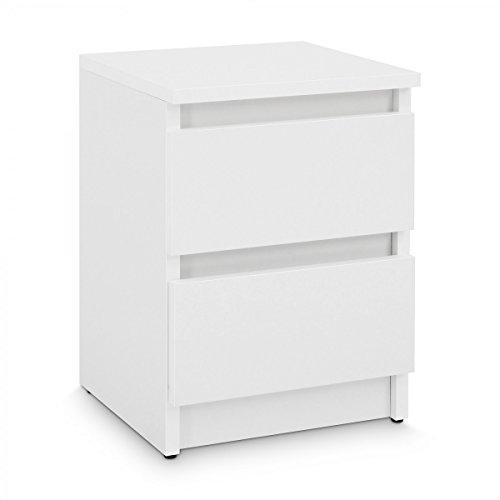 Galdem GANA2WS Nachttisch mit 2 Schubladen, Holz, weiß, 30 x 40 x 30 cm