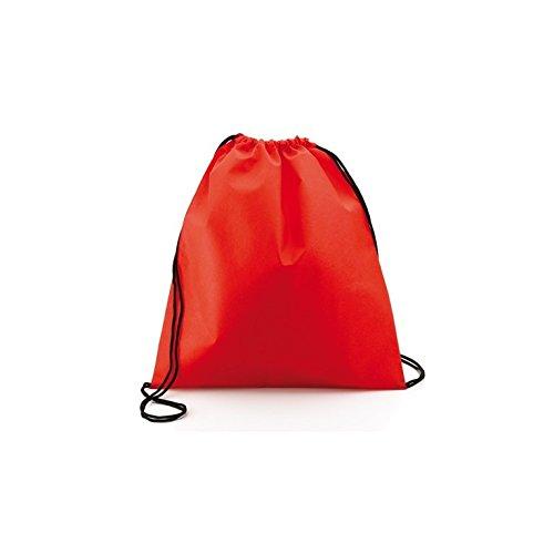 100 pezzi di Sacca Zaino con lacci,in TNT,Ultraleggera mis.37 x 41,Ultra leggero lifestyle viaggio borsa borsetta palestra zaino a spalla trend sport per uomini donne ragazzi ragazze bambini (rosso)