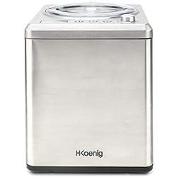 Sorbetière Turbine à Glace Professionnelle HF340 H.Koenig - Machine à glace électrique 2L 180W - Réfrigérante & maintien du froid-Préparation rapide-Compresseur - yaourt glacé,sorbet et crème glacée