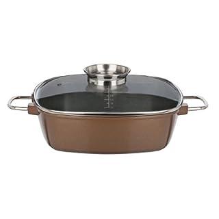 GSW 509015 Gourmet Premium Color Bräter, extra hoch 28 x 28 x 8.5 cm / 4.9 Liter, bronze