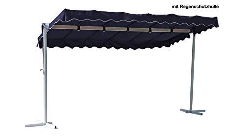 GRASEKAMP Qualität seit 1972 Standmarkise Dubai Blau 375 x 225 cm mit Schutzhülle Terrassenüberdachung Raffmarkise Mobile Markise Ziehharmonika
