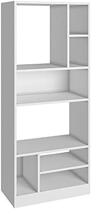 BRV MÓVEIS MDP Multi Use Side Shelves, Bookcase; Open Closet BE 840-06, White, H135.5 x D56.5 x W29.4 cm, Easy