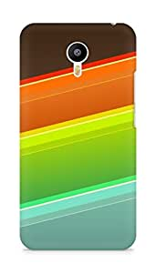 Amez designer printed 3d premium high quality back case cover for Meizu M2 Note (Lines orange red blue)