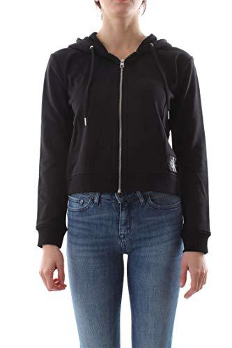 Calvin Klein Jeans Boxy Monogram Badge W Hooded Zipper Black -