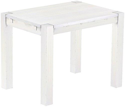 Brasilmöbel Esstisch Rio Kanto 100x73 cm Pinie Weiss Pinie Massivholz Größe und Farbe wählbar Esszimmertisch Küchentisch Holztisch Echtholz vorgerichtet für Ansteckplatten Tisch ausziehbar
