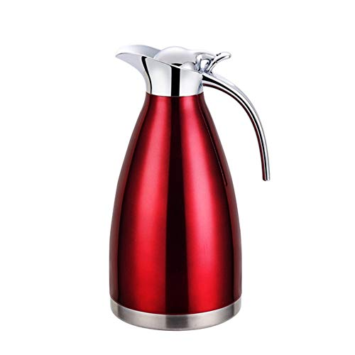 GUOCU Thermoskanne 304 Edelstahl Doppelwand Vakuum Isolierte Kaffee Topf Kaffee Thermos Kaffee Plunger Saft/Milch/Tee Isolierung Topf,Rot,2 L(24 Hours Insulation)