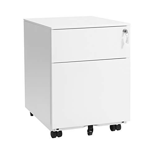 SONGMICS Stahl Rollcontainer mit 2 Schubladen und Hängeregistratur abschließbarer Büroschrank, Schrankkorpus vormontiert, 39 x 54 x 52cm Weiß OFC50WT