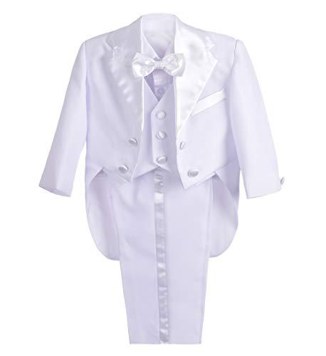 Lito Angels Baby Jungen 5 Stück set Tuxedo Tux Schwanz Formale Outfits Page Boy Anzug Hochzeit Taufanzug Gr. 12 Monate Weiß (White Boy Anzug)