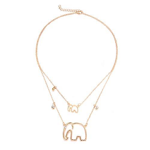 Wudi Fashion Collar de Doble Capa con Colgante Personalizado para Elefantes en...