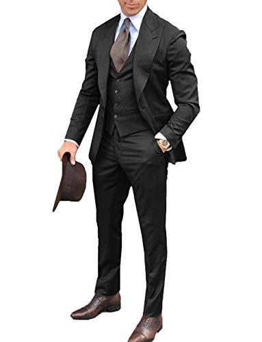 FRANK Herren Smoking Wide Peaked Revers 3 Stück Prom Hochzeitsanzug