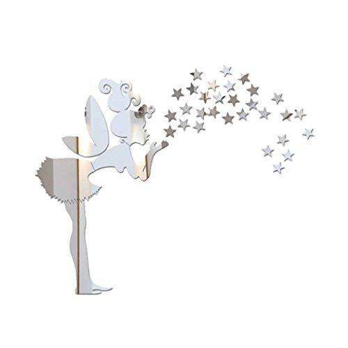 Gankmachine Dormitorio Hada Estrellas Espejo Etiqueta de la Pared de la Niña Estrellas Mirrord Adhesivos de Bricolaje acrílico Niños Decoración del Papel Pintado