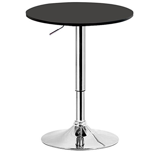 WOLTU BT02sz Table de bar en MDF pied,table ronde design hauteur réglable,Noir