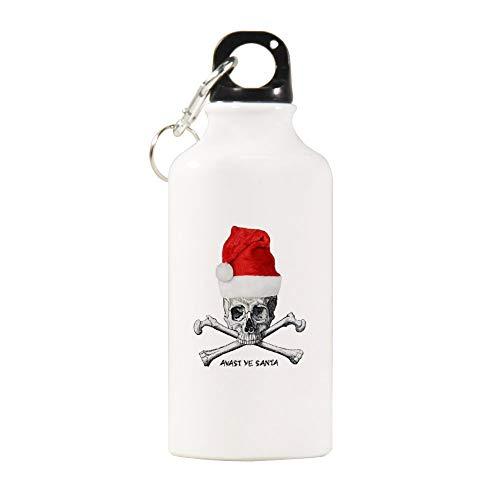 VINMEA Sport-Wasserflasche aus Edelstahl, Avast Ye Santa! Sport-Wasserflasche mit Karabinerhaken, Motiv: Piratenschädel, 567 ml