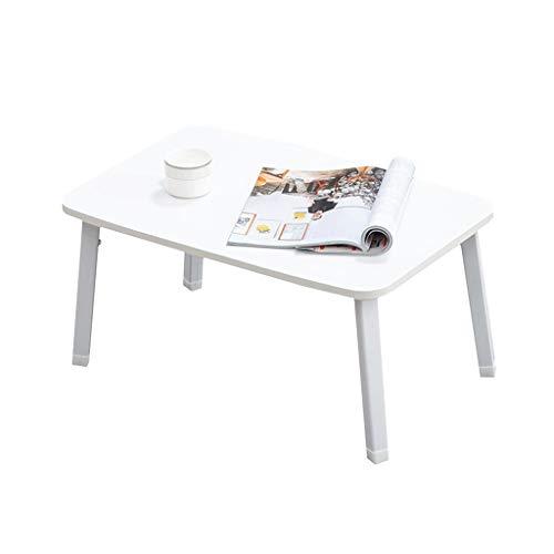 ZEZHOU Laptop-Tisch, faltbares Tablett Betttisch Erkerfenster Kleiner quadratischer Tisch Faules Zuhause Einfacher Schreibtisch 2 Größe (weiß) (Farbe : 80cm)