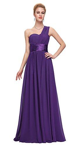 Honeystore Damen's A-Linie/Princess-Linie Eine Schulter Bodenlang Chiffon Brautjungfernkleid Abendkleid mit Rüschen Violett XXXL