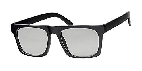 Eyewear World Unisex-Brille mit transparenten Gläsern, Retro-Stil, glänzender, schwarzer Rahmen, mit gelber Nackenkordel