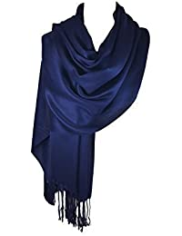 NEW HIGH QUALITY NAVY BLUE CASHMERE AND SILK FEEL PASHMINA SHAWL / SCARF / WRAP