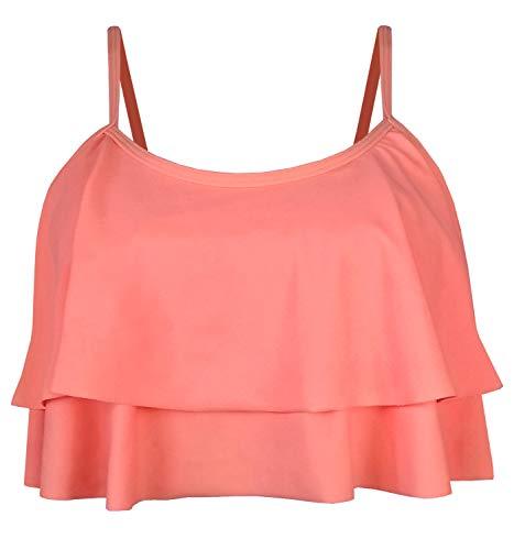 Balasami Damen Retro 50er Jahre Plaid Muster Polka Dot Neckholder Molded Soft Pads Vintage Bikini Badeanzug Tops - Orange - Medium