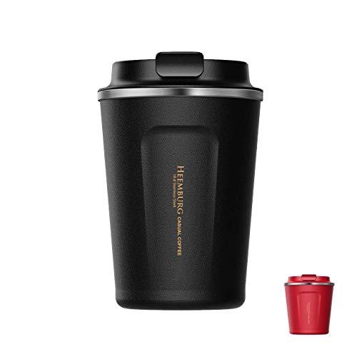 Heemburg Kaffeebecher für unterwegs Coffee-to-go Thermobecher schwarz 380 ml aus Edelstahl mit Doppelwand Isolierung 100% auslaufsicher für Kaffee oder Tee