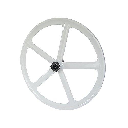 RIDDOX Laufradsatz Singlespeed Fixie 700C/28 Hinterrad mit Freilaufritzel - Leichtmetall - 5 Speichen - Weiß