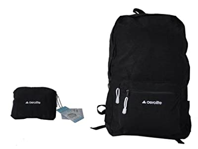 "Aerolite® Lightweight Black Cabin Size Fold Away 17""/21"" Luggage Holdall /Backpack / 17"" (40cm x 30cm x 20cm 0.25Kg 23L) / 21""(55cm x 35cm x 20cm, 44L, 0.35Kg)"