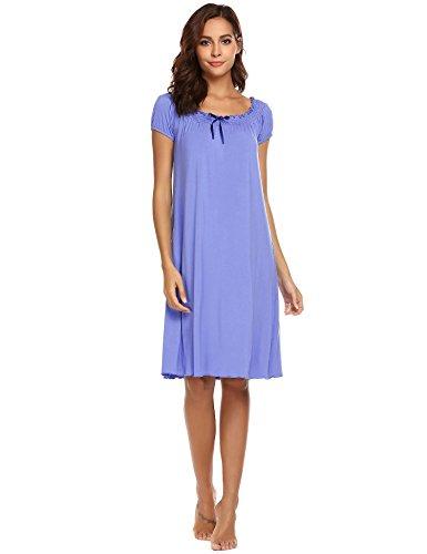 16381184254d5d Imposes Damen Viktorianisch Nachthemd Kurzarm Nachtkleid Knielang  Nachtwäsche Hauskleider Sleepshirt Kleider Schwarz Navy Blau