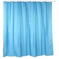 Tatay 5520200 Cortina de Baño de Polyester, Incluye Anillas, Azul, 220 x 200 cm