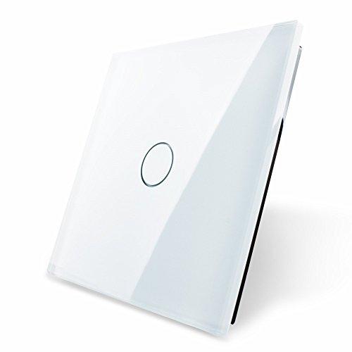 Touchpanel OHNE Schalter aus Sicherheitsglas, vorbereitet für einen einfachen Lichtschalter von Garnitura® (Achtung es handelt sich nur um die Abdeckung!), weiß