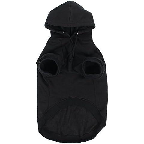 La vogue Sudaderas Perro Con Capucha Grueso Color Puro Negro,L