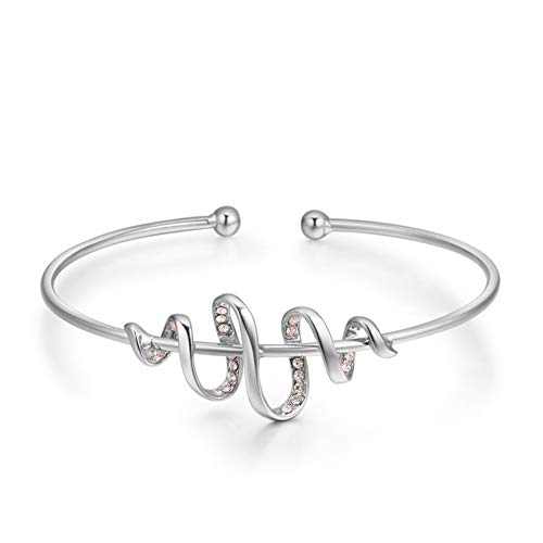 ZSML Rose Gold Eröffnung Bangle, Swarovski Elements Kristall-Gold-Beschichtung Frauen Armband, Cute Überraschung Dame Schmuck Geschenk,Platinum