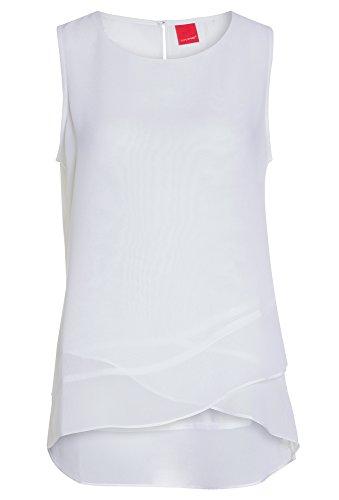 LIVRE Damen-Bluse im Materialmix Top,T-Shirt,Chiffon,Blusen-top,ärmellos,Sommer weiß,38