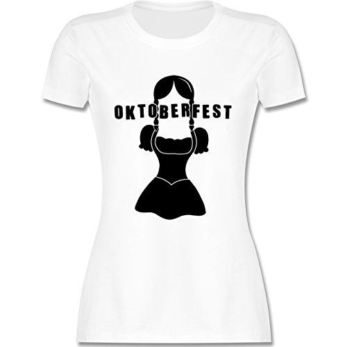 Oktoberfest Damen - Hipster Bayerin Oktoberfest - tailliertes Premium T-Shirt mit Rundhalsausschnitt für Damen Weiß