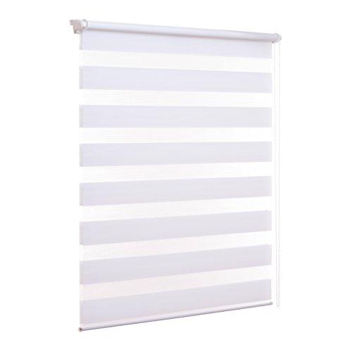 Doppelrollo ohne Bohren Klemmfix Weiß Fenster Duo Rollo verspannt inklusive Klemmträger 80 x 210 cm - Jalousie Mit Schritt Licht